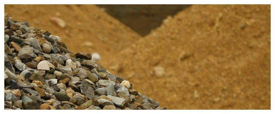 Gravel, stone and sand